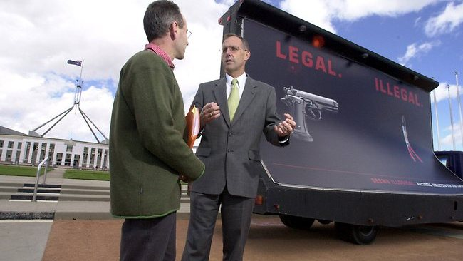 Dr Bob Brown Greens senator with Roland Browne, of the Coalition for Gun Control - in front of mobile billboard for banning of handguns. Picture: Michael Jones