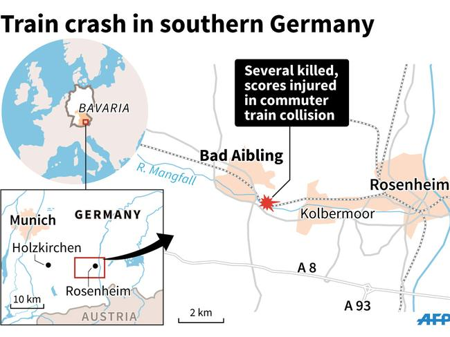 Map of the area in Bavaria where 2 commuter trains collided on Tuesday. Picture: AFP