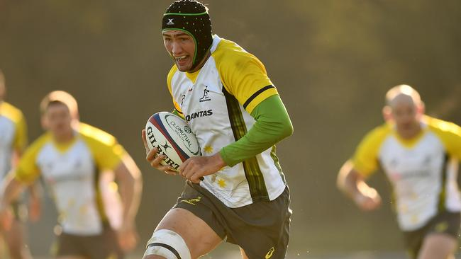 Rob Simmons during a Wallabies training session.