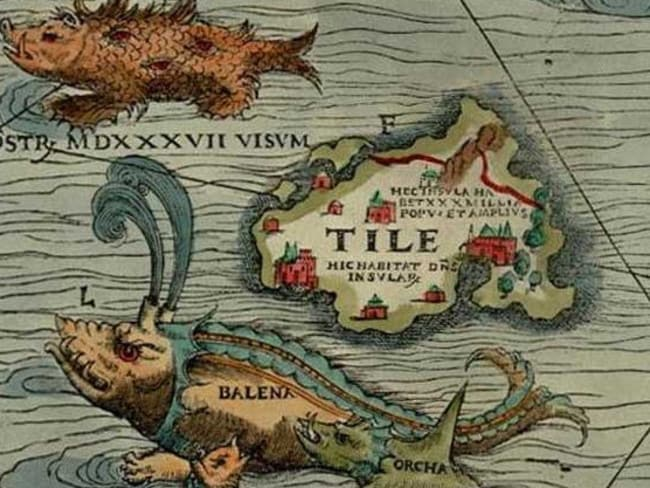 Map of Thule, complete with sea monsters, from the Carta Marina by Olaus Magnus which locates the land northwest of the Orkney Islands.