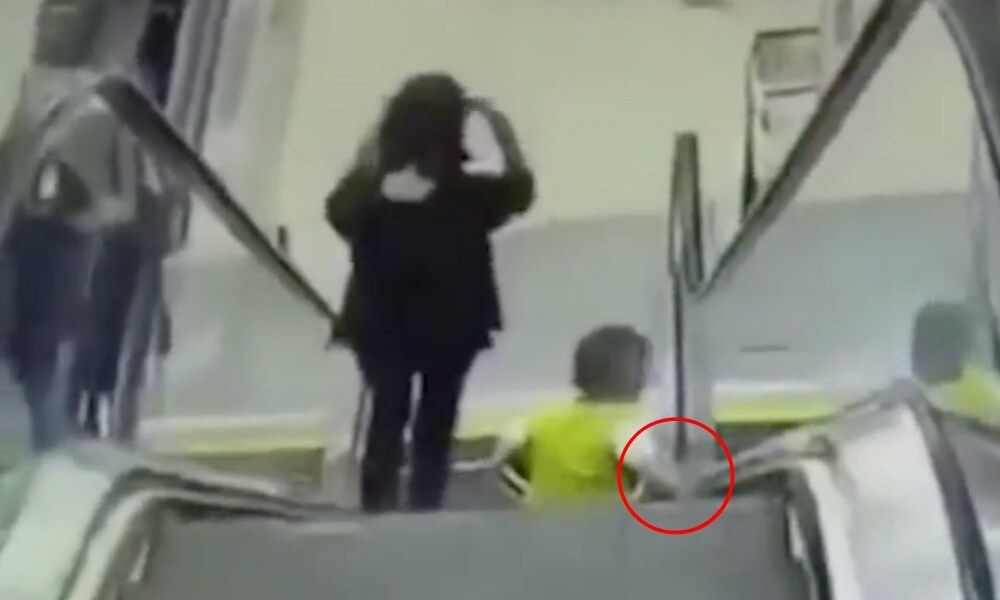 Shocking video reveals why you should never let kids sit on escalators