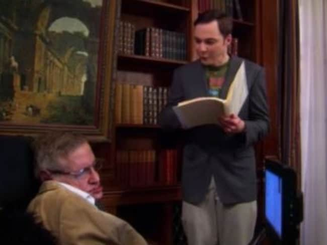 Stephen Hawking torments Jim Parsons' Sheldon by pointing out a flaw in his work on The Big Bang Theory. Picture: YouTube