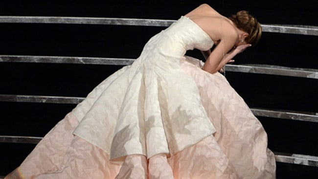 Jennifer Lawrence suffered an accidental fall while accepting her Best Actress award at the Oscars. Picture: Supplied