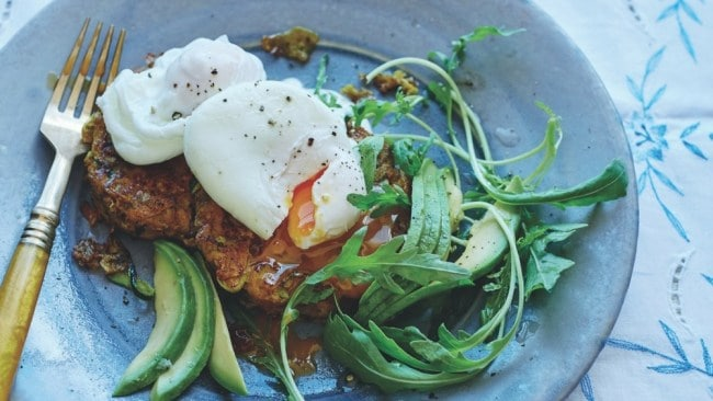 Sweet potato and zucchini fritters with poached eggs. Photo: The Happy Kitchen