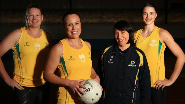 Caitlin Thwaites, Kim Green and Sharni Layton will represent Australia at the Glasgow Commonwealth Games, pictured with Coach Lisa Alexander. Picture: Mark Evans