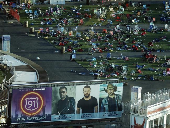 Personal belongings and debris litters the Route 91 Harvest festival grounds across the street from the Mandalay Bay resort and casino in Las Vegas. Picture: Marcio Jose Sanchez. AP