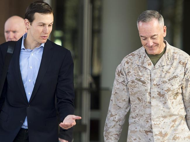 This US Department of Defence photo shows Jared Kushner (L) senior advisor to President Donald J. Trump, as he speaks with Marine Corps Gen. Joe Dunford, the chairman of the Joint Chiefs of Staff. Picture: AFP