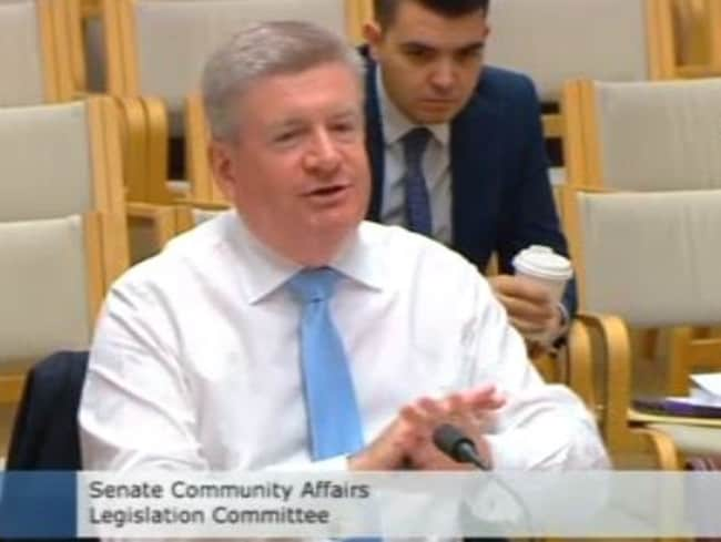 Communications Minister Senator Mitch Fifield getting fired up in Senate Estimates.