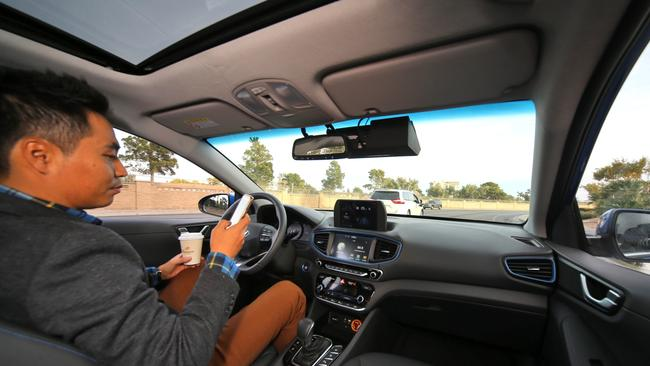 Look, no hands. Hyundai says it will be selling driverless cars in three years. Pic: Supplied.