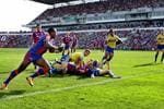 Try time - Akuila Uate goes over against the Parramatta Eels. Picture: Gregg Porteous