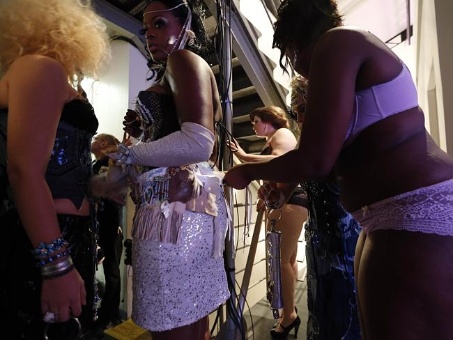 Models prepare backstage during the first Pulp fashion week.