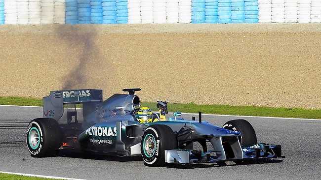 German driver Nico Rosberg's Mercedes burns during a training session at the Jerez de la Frontera racetrack in Spain. Picture: Cristina Quicler
