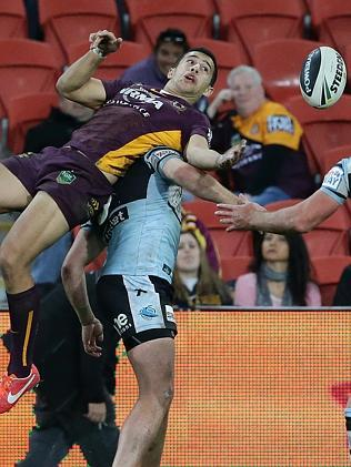 Broncos Jordan Kahu goes up for the ball after a kickoff in the clash between the Brisbane Broncos and the Cronulla Sharks at Suncorp Stadium.