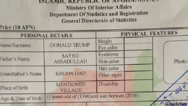 Parents say their lives have been ruined after naming their son Donald Trump. Picture: Documenting Afghanistan/Facebook. Photo: Facebook