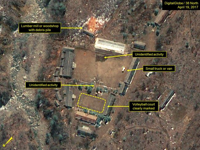 Several unidentified objects and activities observed at the Main Administrative Area of North Korea's Punggye-ri nuclear test site. Picture: DigitalGlobe/38 North via Getty Images