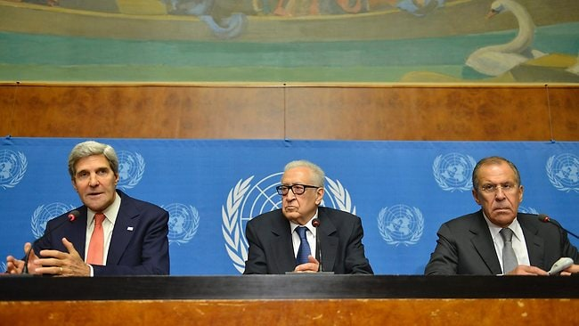 John Kerry, left, US Secretary of State, Lakhdar Brahimi, center, UN Joint Special Representative for Syria and Sergei Lavrov, right, Russian Foreign Minister, attend a press conference after their meeting at the European headquarters of the United Nations in Geneva, Switzerland. Picture: AP