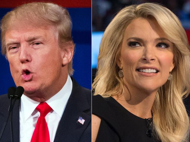 Running scared ... Donald Trump (left) has pulled out of Republican debate because it's being moderated by Fox News reporter Megyn Kelly (right). Picture: AP Photo/John Minchillo