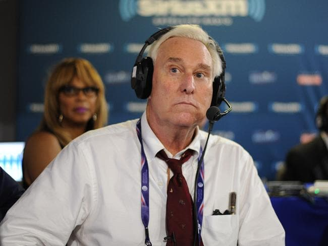 Roger Stone listens to host Jonathan Alter talk during an episode of Alter Family Politics on SiriusXM at Quicken Loans Arena in Cleveland, Ohio last year. Picture: Ben Jackson/Getty Images