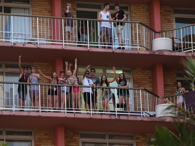 Schoolies were warned not to climb over balconies. Picture Mike Batterham