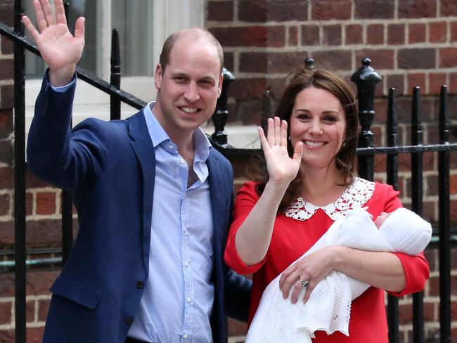 The young Prince X of Cambridge was born at 11.01am weighing 3.8 kilograms, and a glowing Kate faced the media less than seven hours later. Picture: AFP Photo / Isabel Infantes