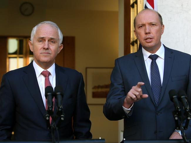 Peter Dutton (r), pictured with Malcolm Turnbull, is not happy with Tony Abbott's continued sniping at the Liberal Party leadership. Picture Kym Smith