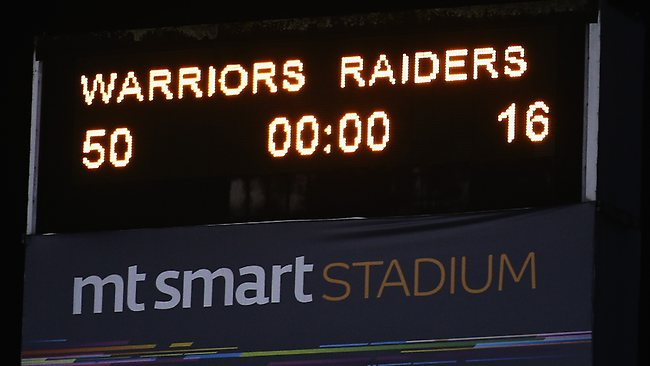 The final scoreboard after the round 25 NRL match between the New Zealand Warriors and the Canberra Raiders. Picture: Hannah Johnston