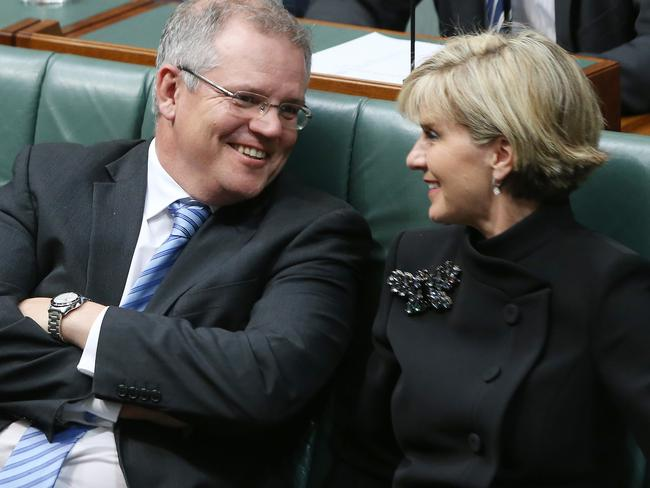 Immigration Minister Scott Morrison and Foreign Minister Julie Bishop enjoying Question Time. Picture: Gary Ramage.
