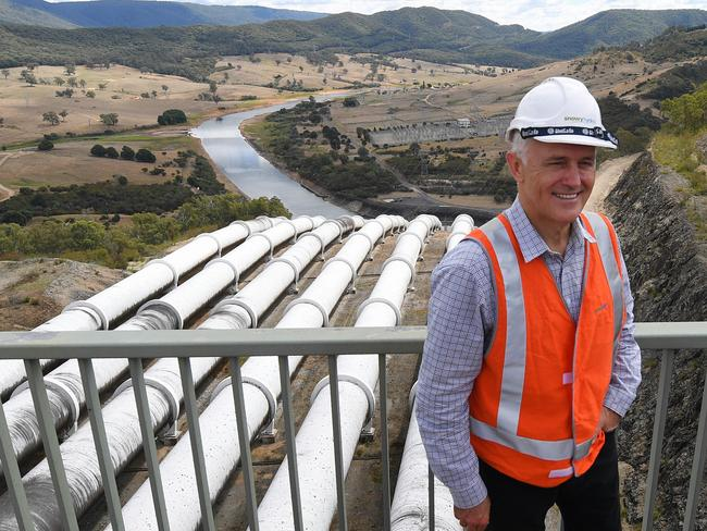 Malcolm Turnbull poses for a picture during a tour of Tumut 3 power station at the Snowy Hydro Scheme in Talbingo today. Picture: Lukas Coch/AAP