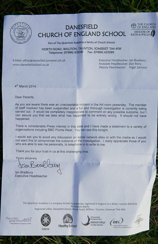 A copy of a letter to parents of pupils informing them Miss Ortega had been suspended.