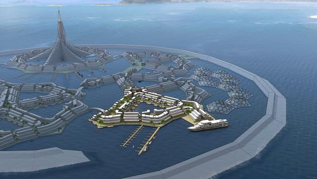 Concept designs for a floating city by DeltaSync. Picture: seasteading.org