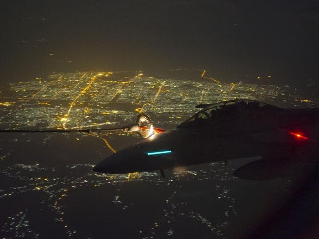 Refuel mission ... A nightime shot of a Super Hornet over Iraq.