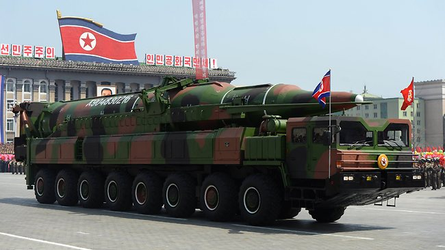 This missile, pictured during a parade in Pyongyang in 2012, was also said to be a Photoshop inclusion.