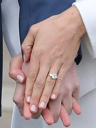 Meghan Markle shows off her engagement ring. Picture: AFP/Daniel Leal-Olivas