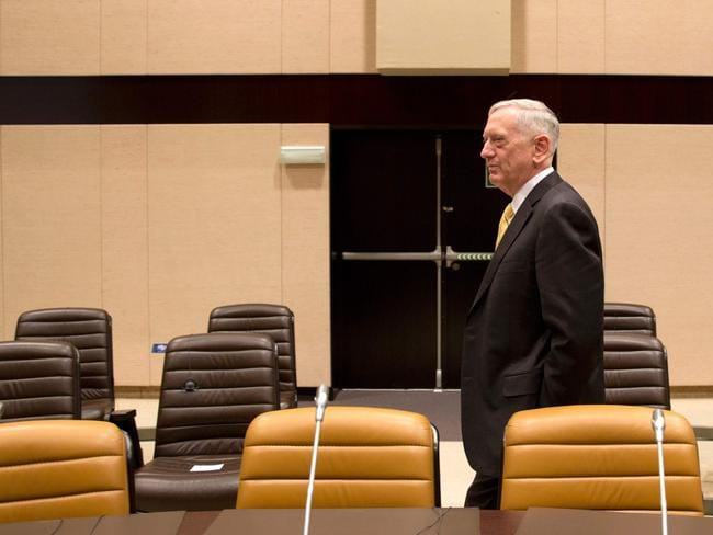 US Secretary of Defense James Mattis arrives for a NATO Defence Ministers' meeting held at the NATO headquarters in Brussels. Picture: AFP.