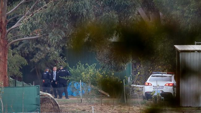 Police at the scene of the crime. Picture: AAP