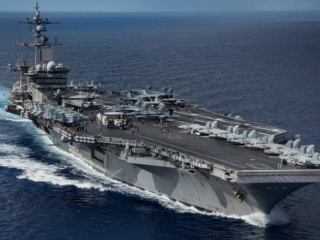 (The USS Nimitz (pictured) has been ordered to join to other US nuclear-powered aircraft carriers into waters off North Korea. Picture: AFP/US Navy/MC SPC2nd Class Z.A. Landers