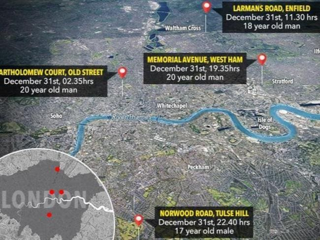A map of where the stabbings took place. Picture: The Sun/Google Earth