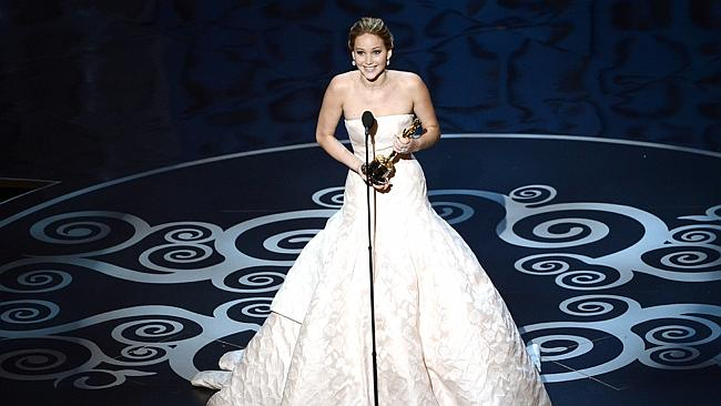 Jennifer Lawrence never seems to have a speech prepared.