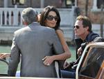 George Clooney, back to camera, his fiancee Amal Alamuddin and Rande Gerber, right, arrive in Venice, Italy on Friday, September 26th 2014. Picture: AP