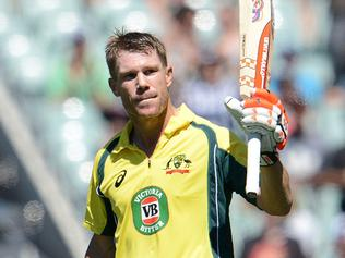 Australia's David Warner gestures after scoring 100 during the one-day international cricket match between Australia and Pakistan at the Adelaide Oval in Adelaide on January 26, 2017. / AFP PHOTO / Brenton Edwards / -- IMAGE RESTRICTED TO EDITORIAL USE - STRICTLY NO COMMERCIAL USE --