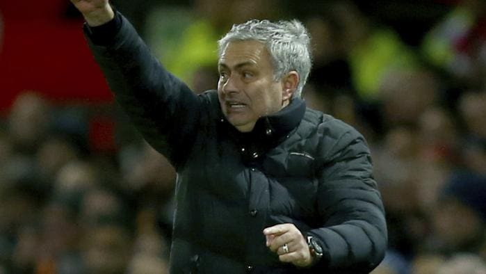 Manchester United's manager Jose Mourinho gestures during the English Premier League soccer match between Manchester United and Liverpool at Old Trafford stadium in Manchester, England, Sunday, Jan. 15, 2017. (AP Photo/Dave Thompson)
