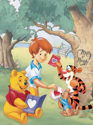 Winnie the Pooh exchanges Valentine's cards with friends while not wearing pants. Photo: Supplied.