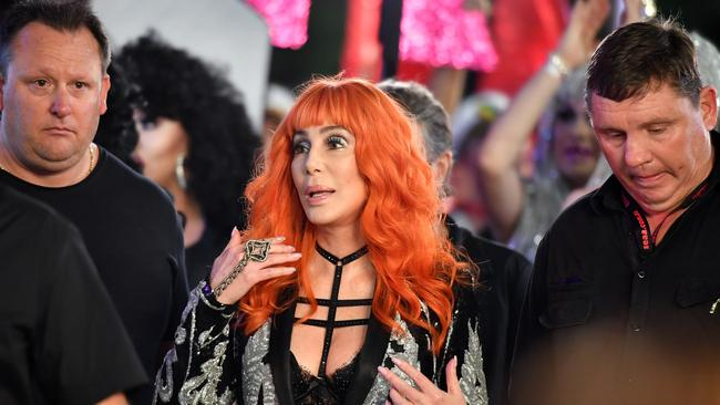 Superstar Cher made a surprise appearance in the crowd at the 40th Sydney Mardi Gras ahead of her scheduled performance later tonight. Picture: AAP /Joel Carrett.