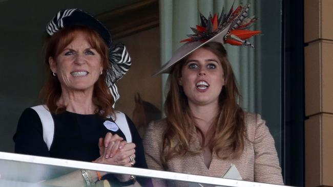 Sarah, Duchess of York (l) and her daughter, Princess Beatrice of York were involved in organising the party for the youngest Beckham child. Picture: AFP
