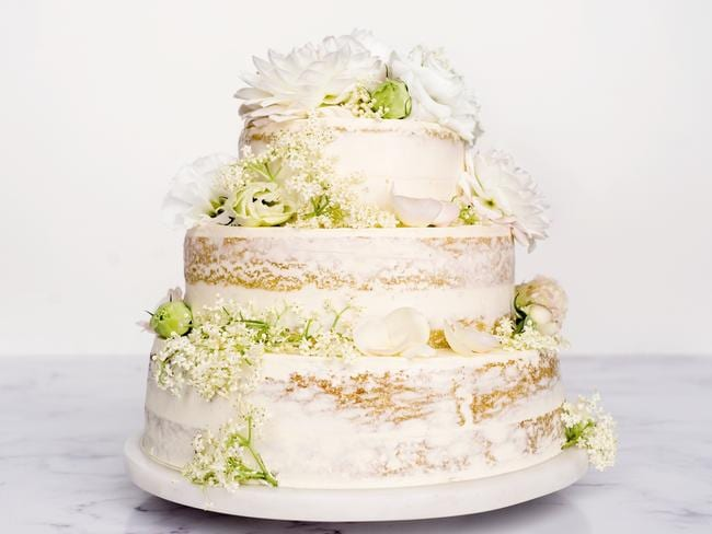 Delicious magazine has created what they think the royal wedding cake will look like. This is a three-tiered lemon and elderflower cake with white chocolate Swiss meringue buttercream icing. Picture: Delicious.com.au