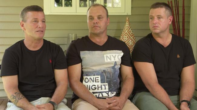 The mates who saved him: Rick Bettua, Peter Kosica and Aaron Butler. Picture: Channel 9