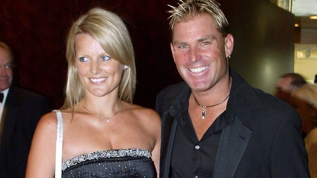Shane Warne and her ex-wife, Simone. Picture: Fiona Hamilton