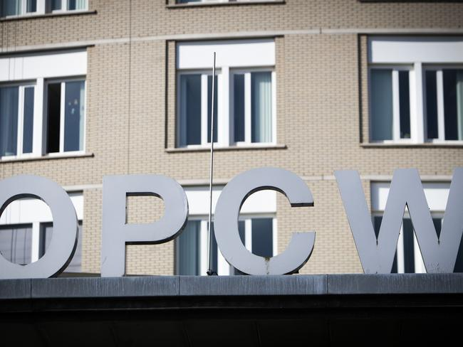 The logo of the Organisation for the Prohibition of Chemical Weapons (OPCW) is pictured outside the headquarters in The Hague, The Netherlands. Picture: AFP