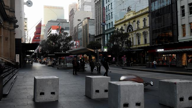 Concrete Bollards Bourke street Mall Melbourne. Picture: Nicole Garmston
