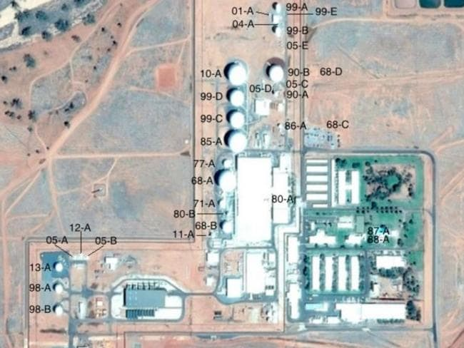 Antenna systems at Pine Gap, Google Earth imagery 6 November 2015. Annotations by Desmond Ball, Bill Robinson and Richard Tanter.